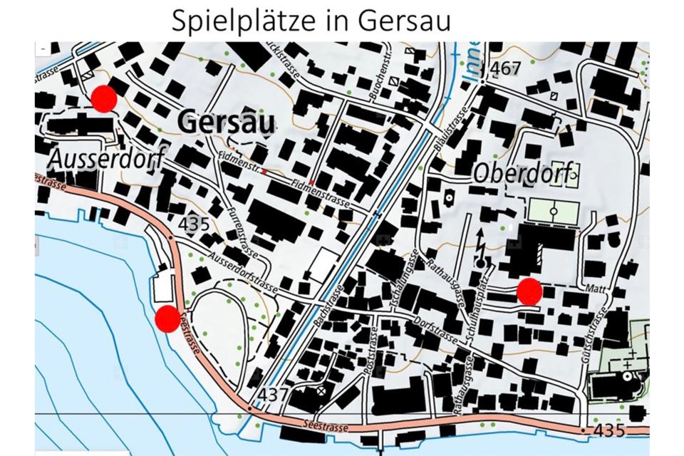 Übersichtskarte Spielplätze in Gersau