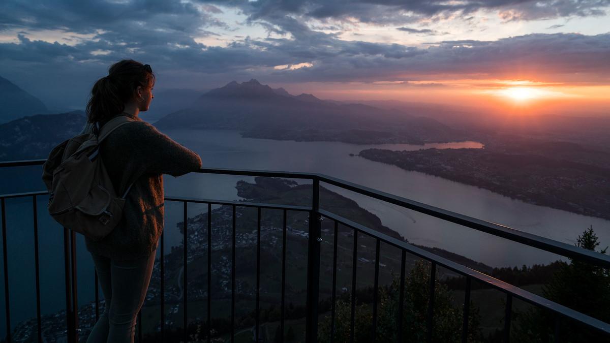 Aussicht im Sonnenuntergang Rigi Kulm