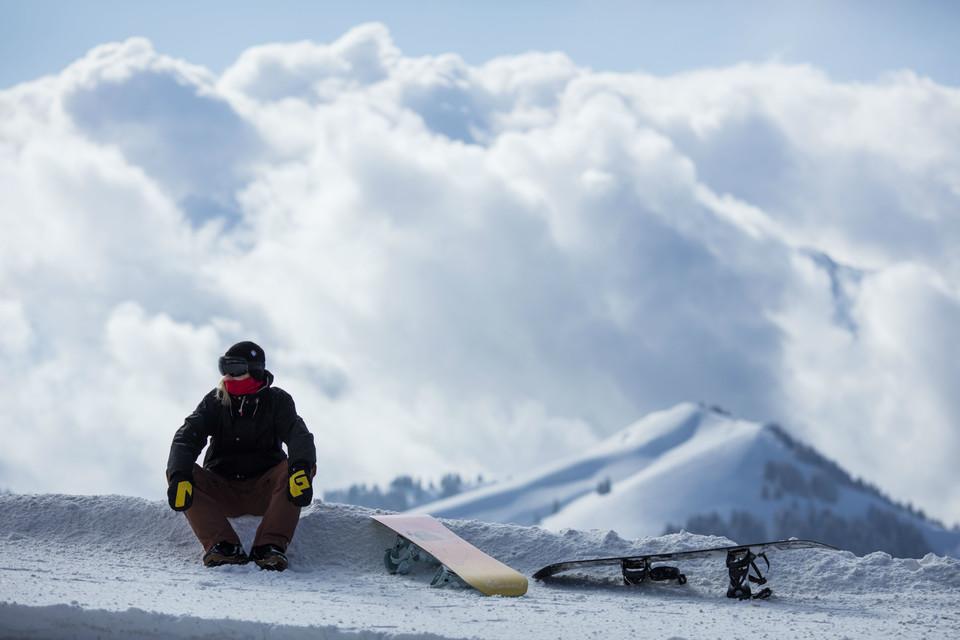 Snowboarder auf der Rigi