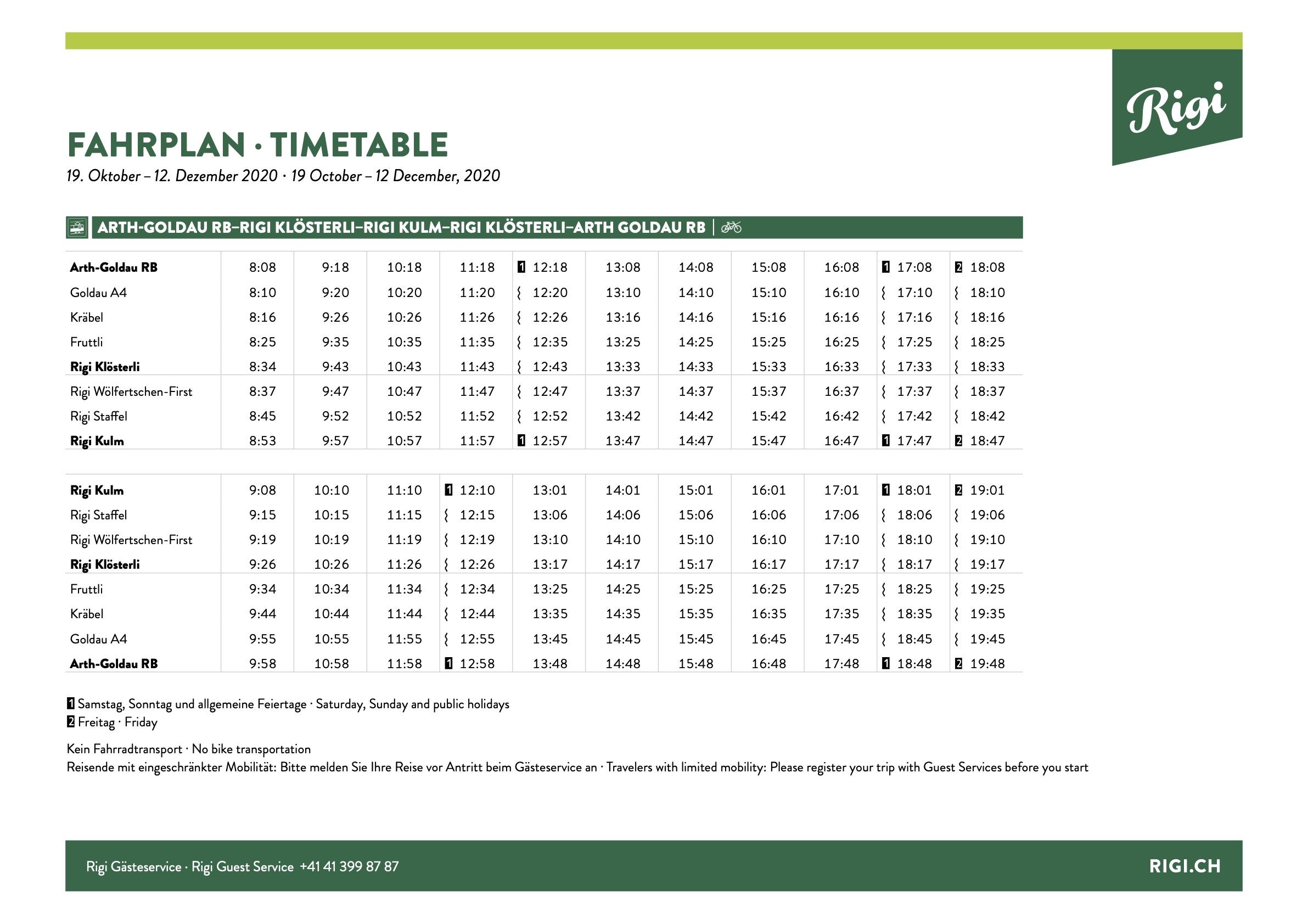 Fahrplan Zahnradbahn / Timetable cogwheel train Arth-Goldau - Rigi Kulm
